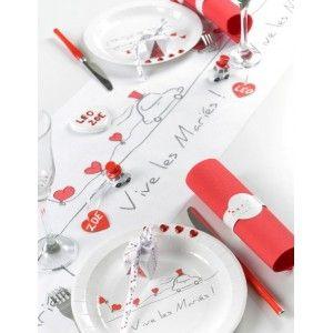 chemin de table vive les maris intiss blanc en tissu non tiss chemin de table - Chemin De Table Color