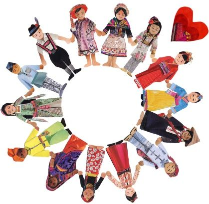 A collage of people from around the world holding hands in a circle