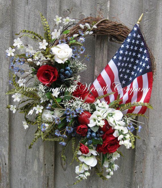 Patriotic Wreath, Americana Wreath, Fourth of July Decor, Memorial Day, Veteran's Day, Summer Floral, Designer, Flag Wreath