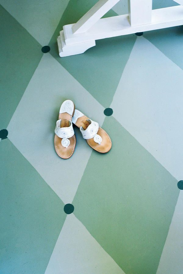 Paint the Floor - Dine Outdoors in Style - Southernliving. Ground the room with a graphic floor design. Instead of an outdoor rug, which can be pricey, use porch or floor paint to create your own pattern. To make this diamond pattern, we coated the entire floor with pale green porch paint. After it dried, we used painters tape to outline a design, and then filled in with darker greens.    Floor paints: French Gray (18), Lichen (19), and Folly Green, (76)