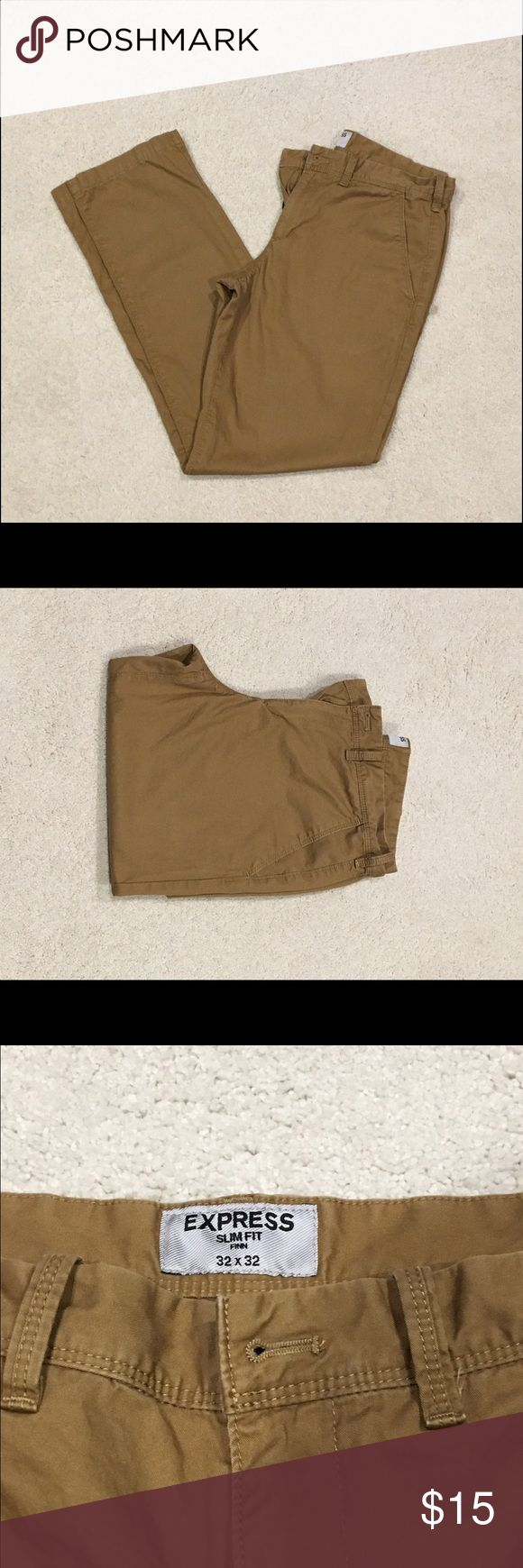 Men's Express Slim Fit Chinos-Tan, 32x32 For sale is a pair of slightly worn men's slim fit chinos from Express, size 32x32.  These were worn a handful of times and are in great condition. Express Pants Chinos & Khakis