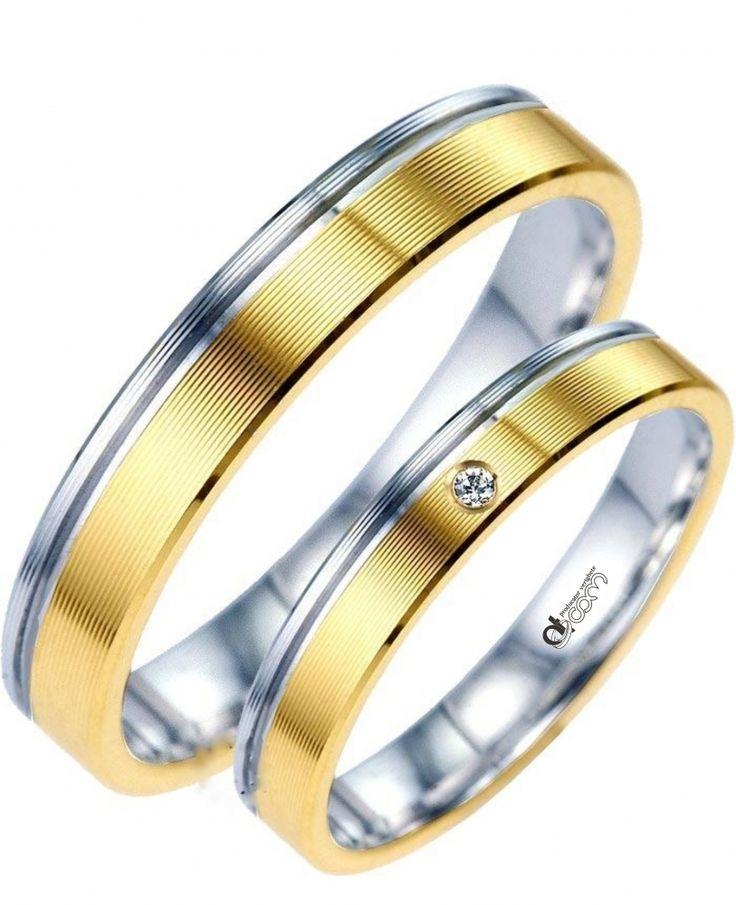 Verighete ATCOM Lux JADORE aur alb cu galben REDUCERE -25 % economisesti 675 ron