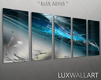 Abstract Modern Contemporary Industrial Wall Art - Ocean Blue Abyss