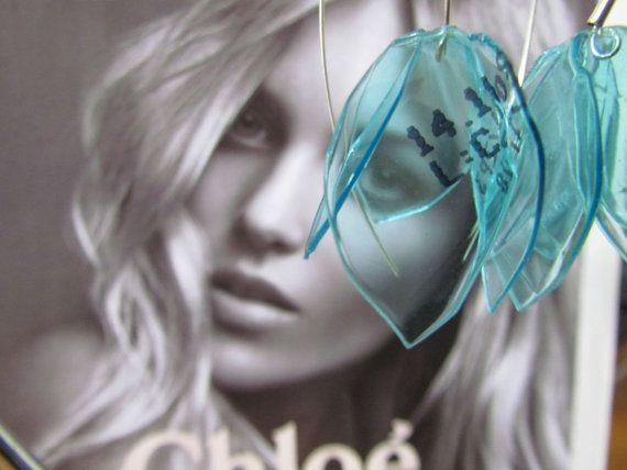 Long turquoise earrings Delicate Romantic Eco friendly by ekoista
