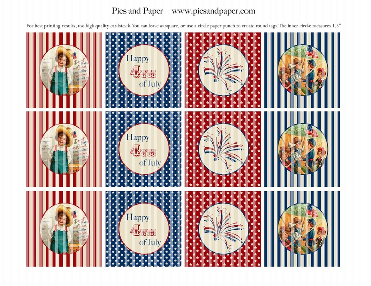 Vintage 4th of July Printable cupcake toppers