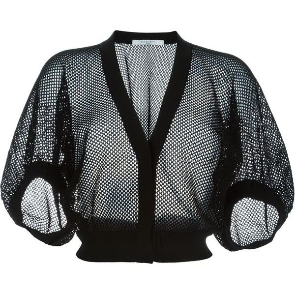 Givenchy cropped fishnet cardigan (4.765 RON) ❤ liked on Polyvore featuring tops, cardigans, black, button front cardigan, v-neck cardigan, fishnet crop top, cropped cardigan and short tops