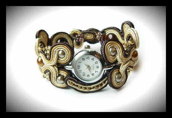 Soutache watch brown beige glass pearls Maya's by Mayasbijou