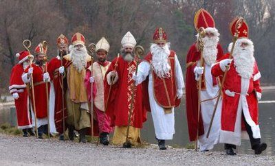 Happy St. Nicholas Day! I love to see how other counties portray St. Nick, the 4th century Greek bishop known for miracles and giving gifts secretly. He is the patron saint of little children, sailors, merchants and students. This good looking group is from Germany, off to leave treats in the shoes of local boys and girls.