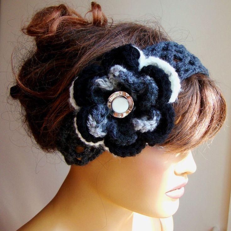 Black Head Band, Gray Head Band, Flower Head Band, Hair Accessories, Woman Head …   – Head Wraps