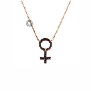 Υπέροχο γυναικείο κολιέ από ροζ χρυσό Κ18 με θηλυκό σύμβολο από μαύρα διαμάντια αυστηρώς για ...θηλυκά | Κοσμήματα στο e-shop ΤΣΑΛΔΑΡΗΣ στο Χαλάνδρι #θηλυκο #διαμαντια #χρυσο #κολιε