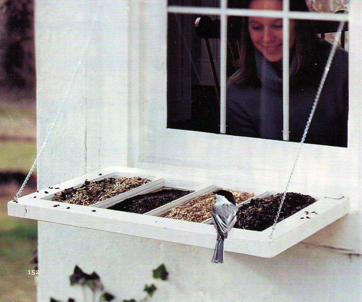 use an old multipane window sash, window screening, two double-action hinges, four small eye hooks, four 3/4-inch S hooks, and two lengths of chain to create a bird feeder that can be attached directly to your house