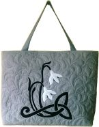 Gecko Fabric Art - applique and quilted mini tote bag - snowdrop design
