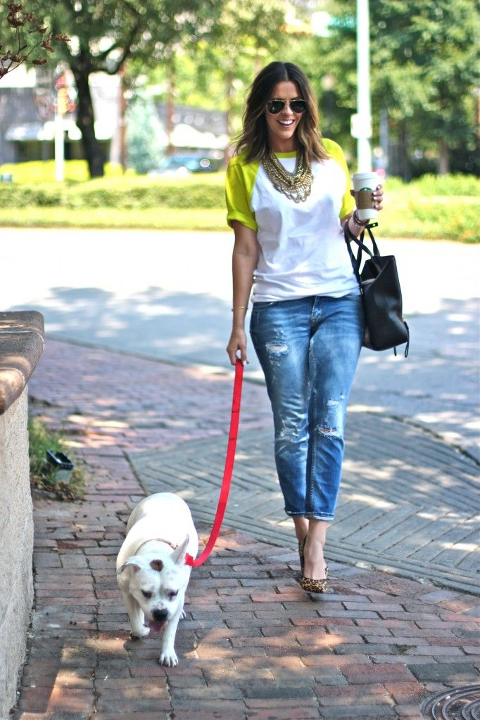 asos tee | leopard heels | zara jeans | baublebar necklace  A Fancy Coffee Date - What Courtney Wore