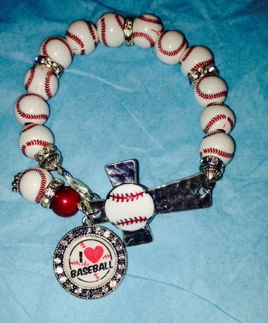 Baseball Cross Bracelet by sassygirlsx3 on Etsy, $10.95