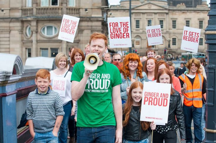 The 2013 Ginger Pride Parade in Edinburgh. 'Scotland has the highest proportion of redheads; 13% of the population has red hair and approximately 40% carries the recessive redhead gene. Ireland has the second highest percentage; as many as 10% of the Irish population has red, auburn, or strawberry blond hair.'