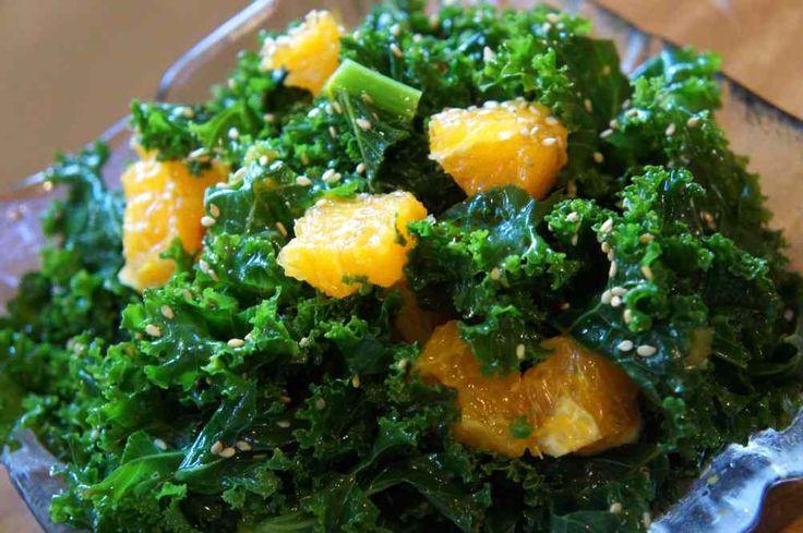 Kale with orange, sesame oil, sesame seeds. LowFODMAP, Vegan, Gluten-Free, www.DelishHomeCook.com