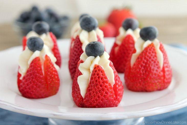 Cheesecake Stuffed Strawberries Recipe Desserts with strawberries, cream cheese, powdered sugar, vanilla extract, fresh blueberries