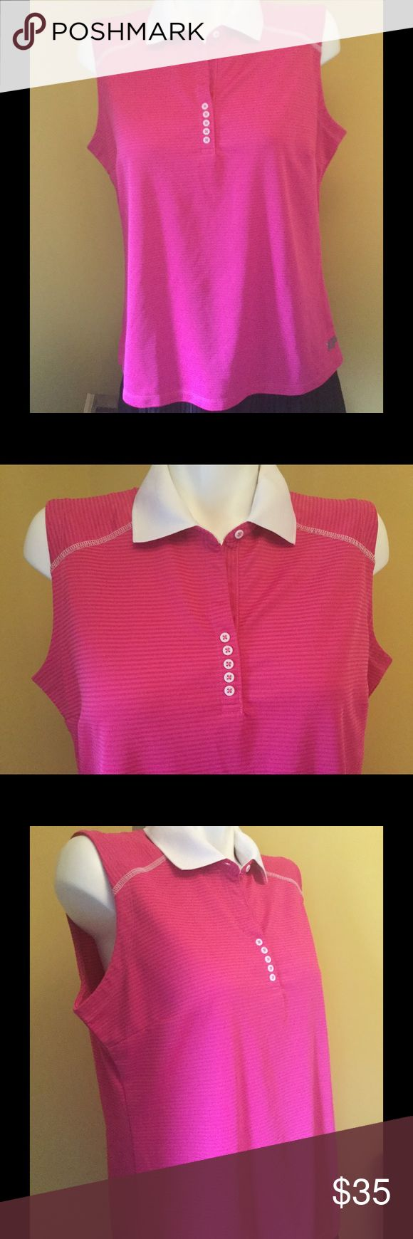"Cute Pink Stripe Golf Shirt Cute Pink Stripe Golf Shirt Con-LL229-B3  Laying Flat Chest measurement across 21"" Length from shoulder to hem 26""  Cute as can be! ""Freshly laundered.""                               ♡GOD BLESS♡                    ☆BUNDLE AND SAVE 5%☆              ♡ASK I WILL REPLY PROMPTLY♡       ☆SHARE & FOLLOW I WILL DO THE SAME☆    ☆REASONABLE OFFER'S ALWAYS WELCOMED☆ Bermuda Sands Tops Blouses"