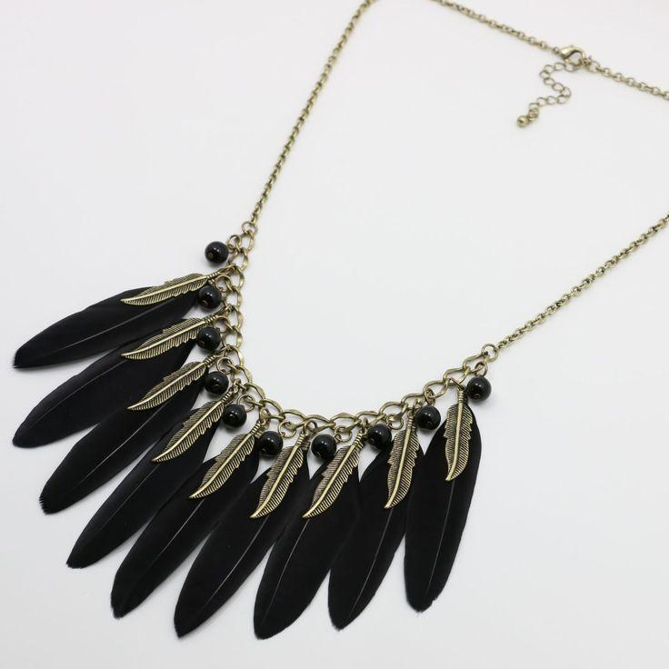 Перо черный длинные ожерелья для свитер дамы мода Neckless мода ювелирные изделия вспомогательное кольер Femme A14 купить на AliExpress