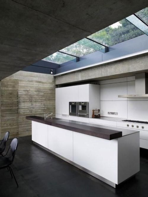 amazing kitchen hi tech design with glass ceiling above kitchen including wooden countertop as well white cabinet kitchen plus dark wooden floor