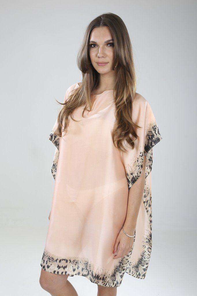 Leopard Silk Kaftan Pink