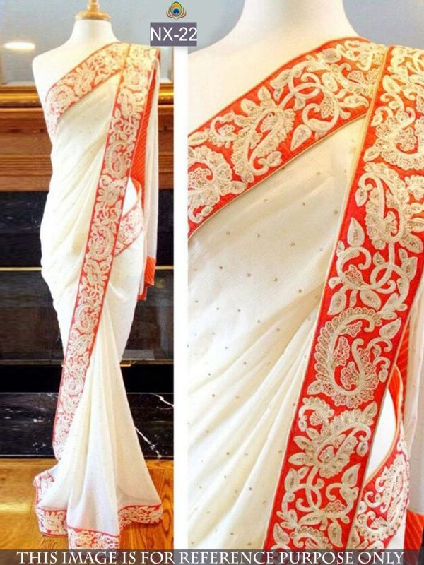 Pretty White Georgette Designer Saree with White Color Row Silk Blouse. It Contained the work of Zari, Embroidery with Lace Border. The Blouse can be customized up to bust size 44