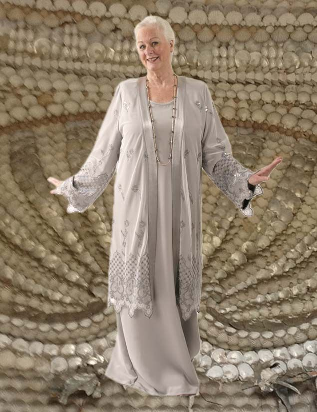 Formal Lacy Coat in Silver Embroidered and Jeweled Mesh (Plus-Size) SHOP NOW Unique jackets for women 14 - 36, mother of the bride, special occasion, artwear, elegant and unique women's clothing, xoPeg#PeggyLutzPlus#PlusSize#style#plussizestyle#plussizeclothing#plussizefashion#womenstyle#womanstyle#womanfashion#weddingstyle#springstyle#springfashion#formal#eveningwear#style#couture#elegantwoman&