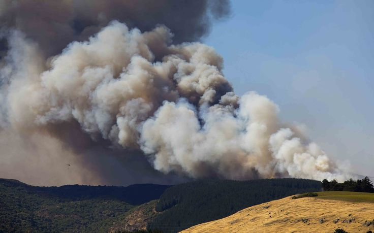 'Smoke rises from the Port Hills
