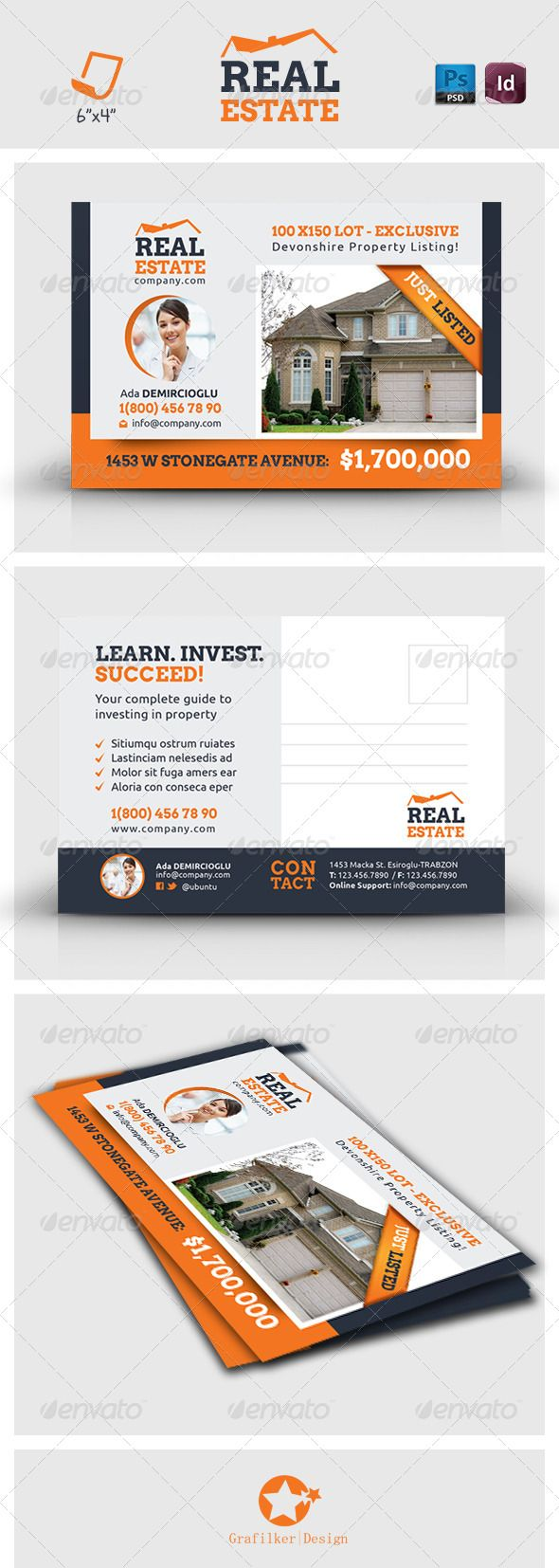 10 best images about real estate postcard design ideas on for Com agent immobilier