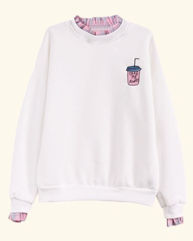 """soft kawaii sweaters in pink and white with an embroidered """"take me away"""" juice logo one size shoulder: 62cm / 24.40in bust: 120cm / 47.24in length: 60cm / 23.6"""