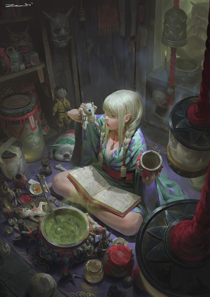 """#Caos. Zeen Chin es un artista de temática fantástica/oscura que he descubierto hace poco. Su estilo me parece muy peculiar y atractivo. Casi todos sus modelos son chicas """"brujas"""", y las representa en un entorno caótico y hostil, lleno de pequeños artefactos y criaturas."""