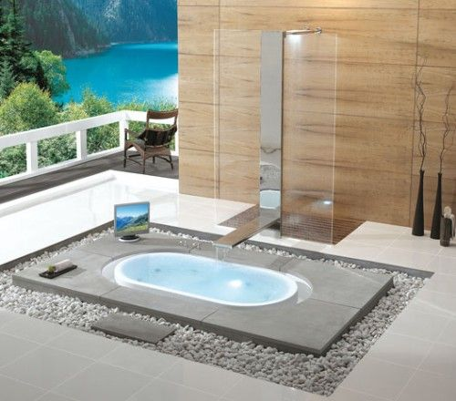 Not only an in-floor bathtub, but outdoors, infinity tub, and a TV & stereo!