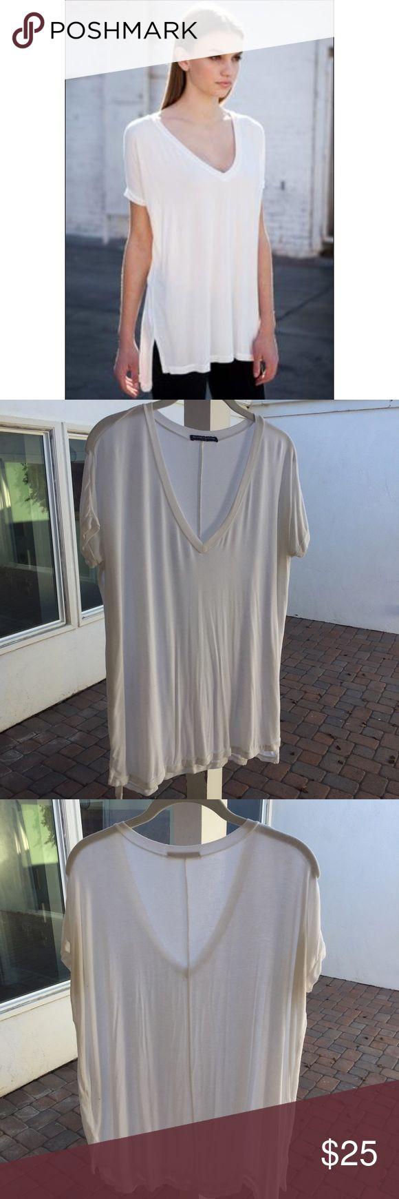 Brandy Melville Milan Top Silky soft white v neck tee Brandy Melville Tops Tees - Short Sleeve
