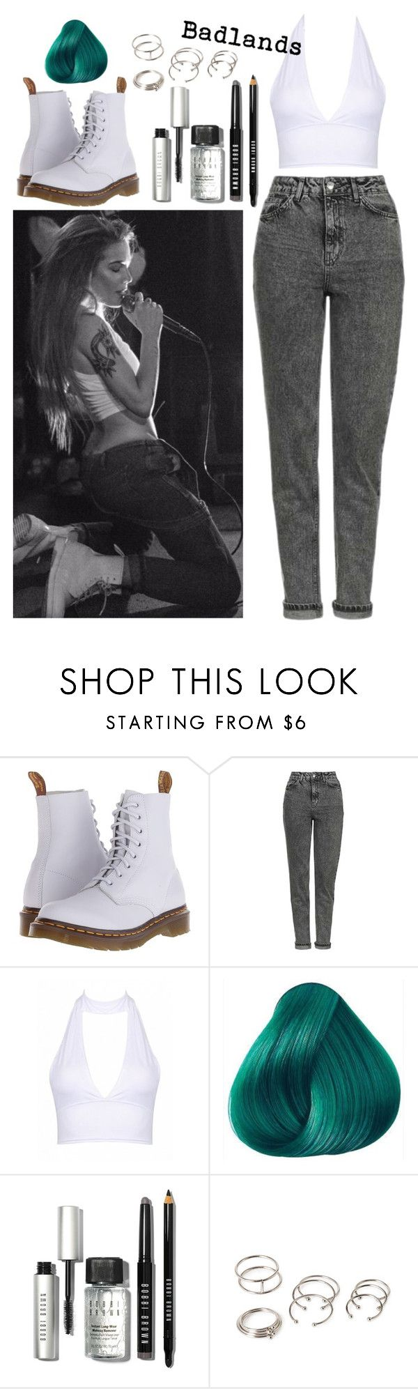 """Halsey Style Steal"" by marymh ❤ liked on Polyvore featuring Dr. Martens, Topshop, Bobbi Brown Cosmetics, Forever 21, denim, Docs, teal, Halter and halsey"