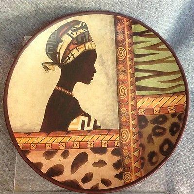 "African Woman 10"" Plate Tribal Dress Leopard Zebra Cheetah Decor Animal"