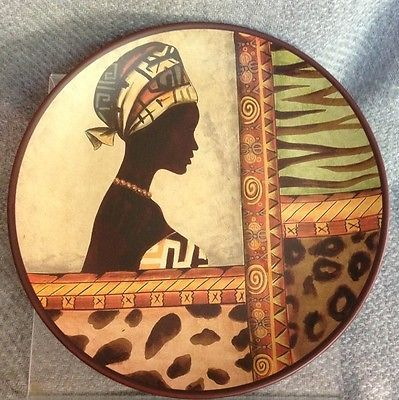 "African Woman 10"" Plate Tribal Dress Leopard Zebra Cheetah Decor Animal print click to see on ebay"