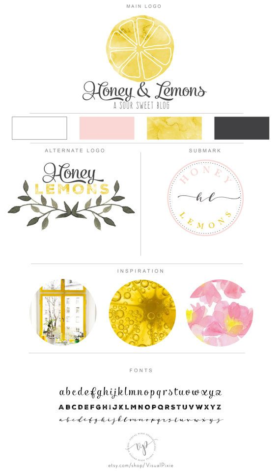 Branding Package Watercolor Lemon Logo Cooking by VisualPixie