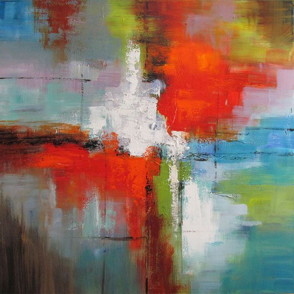 Tableau abstrait rouge, jaune et bleu, peint à la main à l'huile lustré 36x36''
