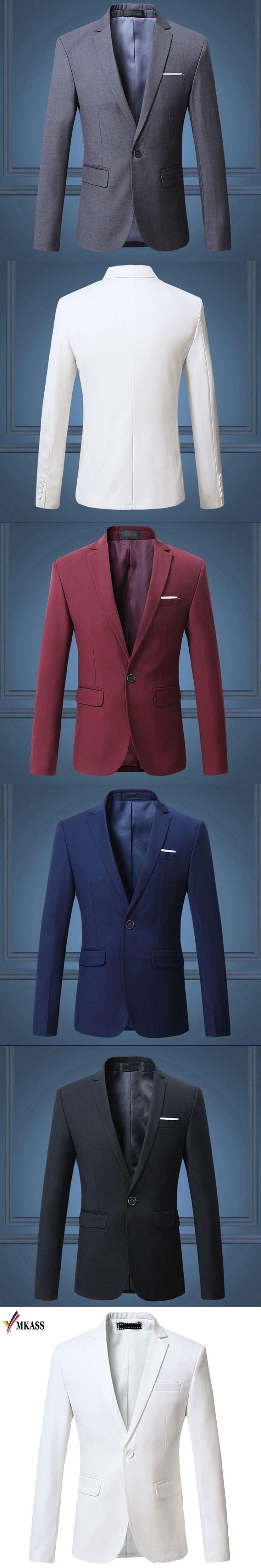 2017 New Fashion 5 Colors Mens Casual Blazer Single Button Dress Blazer Jacket Men Slim Fit Mens Suit Jacket Solid Coat Men 6XL