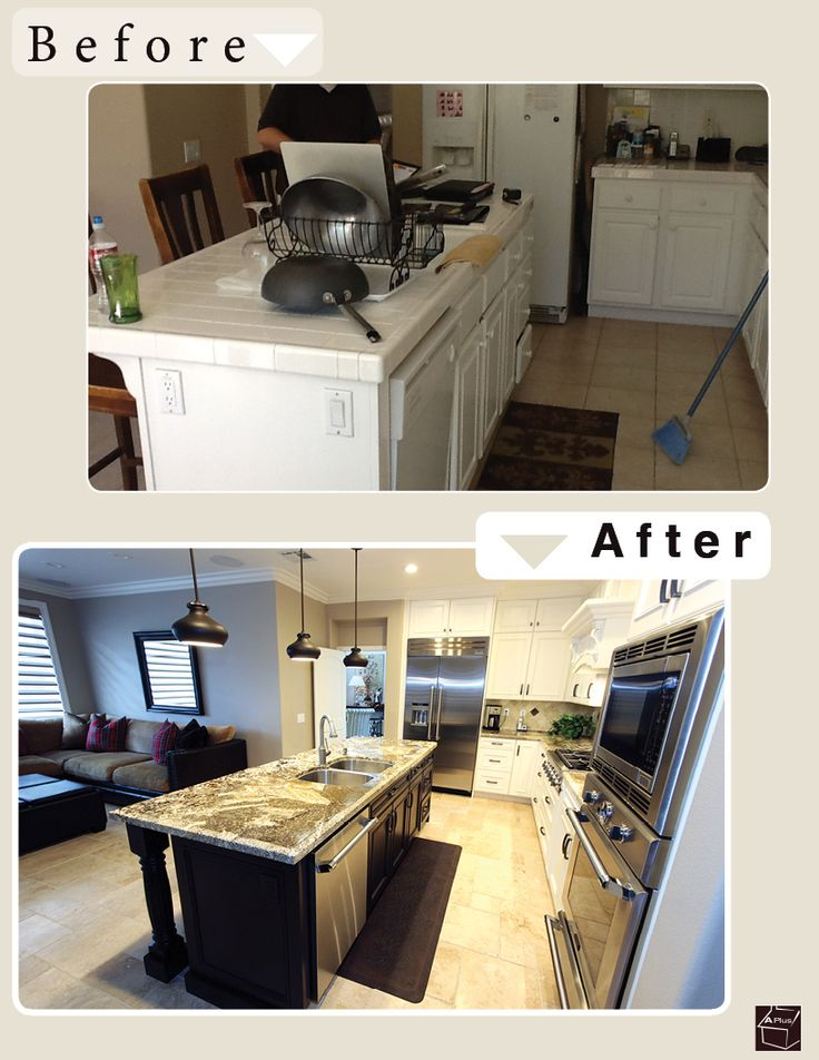 Irvine Kitchen Remodel with Custom White Cabinets u0026 a big black kitchen  island with double-