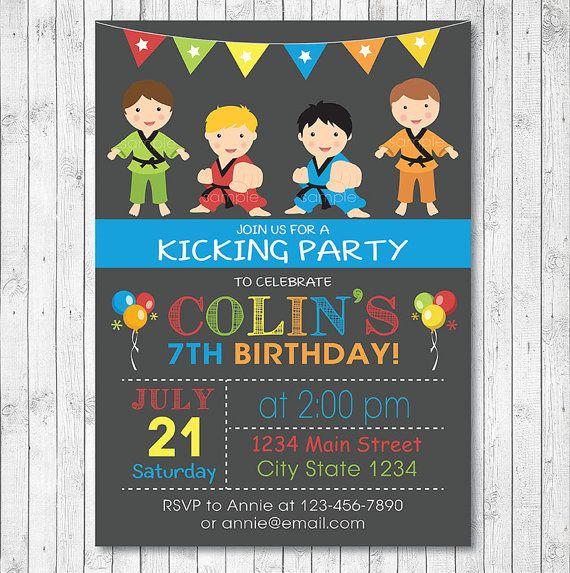 Karate Birthday Invitation, Karate Invite, Karate