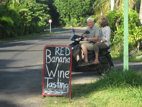 """Koteka Winery """"Banana Wine Tasting"""" near Muri Beach, Rarotonga."""