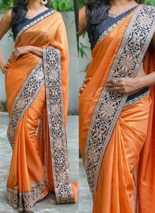 Orange Embroidery Lace Border Silk Georgette Party Wear Wedding Sarees http://www.angelnx.com/Sarees