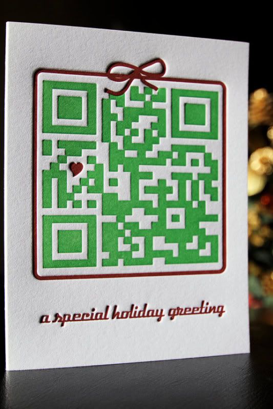 Geeky holiday cards: Letterpress QR code holiday card. Scanning takes you to a video of a dog searching for a christmas present for his people... he gets them this card, clever.