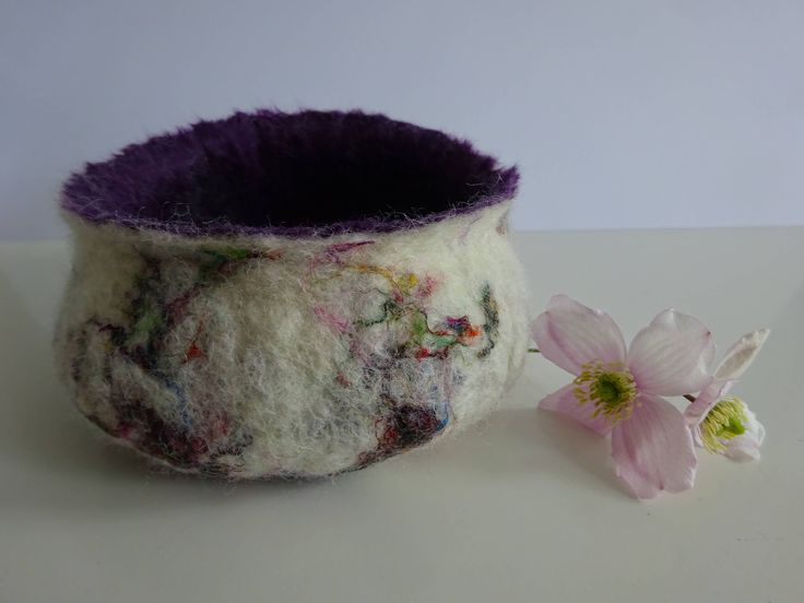 Purple and white felted bowl by FeltFabulousGifts on Etsy