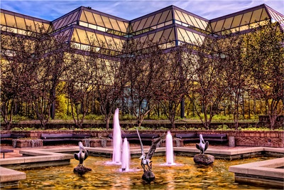 A pool and fountain in front of The Galleria Building at Innovation Place, Saskatoon, Saskatchewan. By Scott Prokop