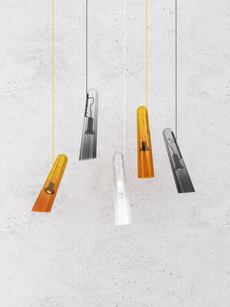 Brokis - light - handmade - bohemian glass - interior. Flutes grey, white and orange design by Lucie Koldova.