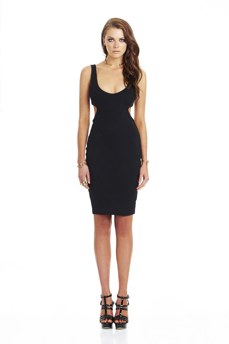 Uptown Girl Knit Cut Out Dress Black #nookie
