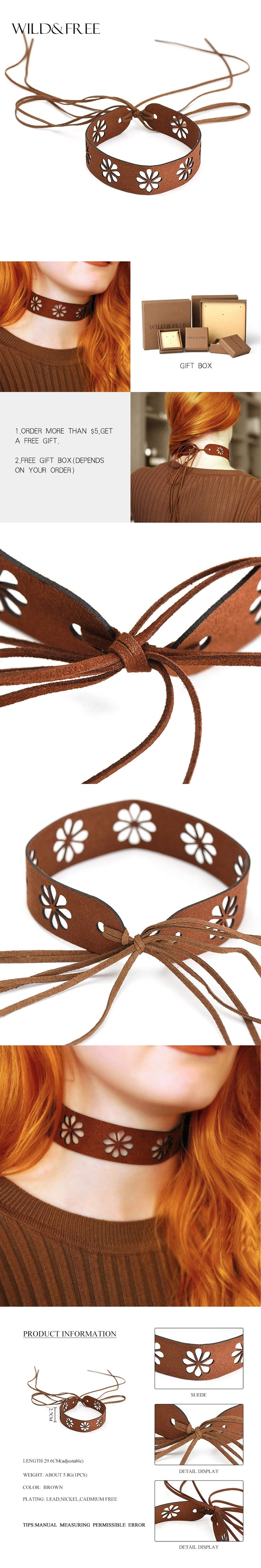 WILD & FREE Women Punk Gothic Black Brown Suede Choker Necklace Vintage Tassel Hollow Out Flower Choker Necklace Jewelry Party