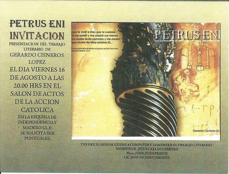 Invitación a la presentación de mi libro PETRUS ENI